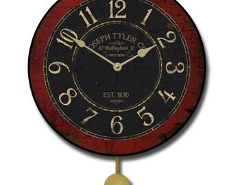 Bellingham Red Pendulum Wall Clock