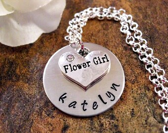 Wedding Necklace, Flower Girl Necklace, Personalized Flower Girl Necklace, Flower Girl Jewelry, Bridal Jewelry
