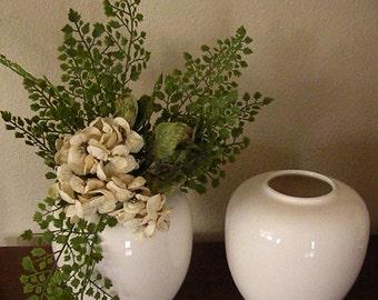 Pair White Round Vases