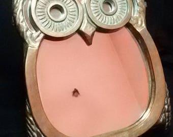 Vintage 70's brass OWL mirror
