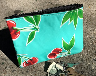 "Turquoise Cherry Oil Cloth 7"" Zippered Pouch, Cosmetic Case, Make Up Bag, Coin Bag"