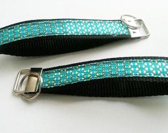 Green Metallic African Fabric Wristlet Fob Keychain -  -lanyard Keychain -  Key Ring -  Metallic Gold - Silver Thread Wristlet