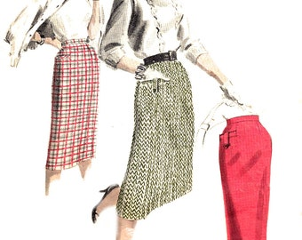 Tailored Skirt Pattern Vintage 1950s Butterick Quick Easy Sewing Women's Misses Waist 24 Inches Hip 33 Inches