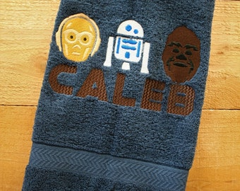 C3PO R2D2 CHEWBACA + Monogram name hand towel - Great gift for Young Jedi or Star Wars fan - Star wars monogrammed towel