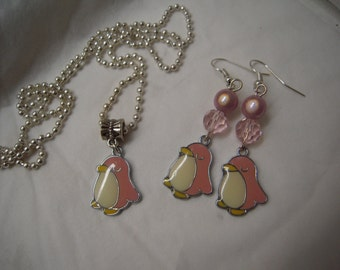 Pinguin earrings and necklace (2 sizes)