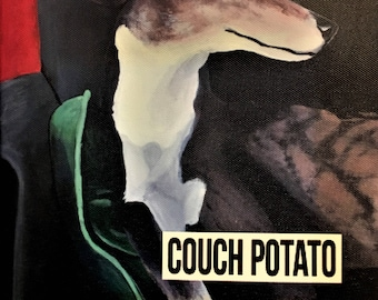 "Greyhound - ""Couch Potato"" dog art - 8""x8"" canvas print"