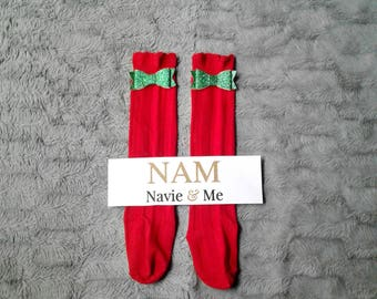 Red Knee High Socks | Christmas Socks | Glitter Bow Socks | Toddler Socks | Baby Socks | Red Knee Socks| Boot Socks | Red Knee Highs| Socks