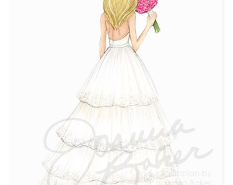 Semi-Custom Hair/Skin Tones - Pink Peonies Bride Fashion Illustration Art Print / Fashion Illustration, Bride Portrait, Bride Fashion Sketch