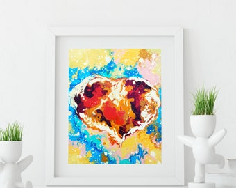 Red Heart Wall Decor, Abstract Art Print Romantic Bedroom Decor, Love Home Decor, Valentine's Day Gift for Her