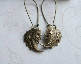Brass leaf earrings, long ear wires, gift for her, black friday, dangle earrings, gift box
