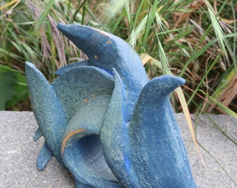 Blue bird stoneware sculpture. Home decor . Blue Bird Sculpture .Art  sculpture .