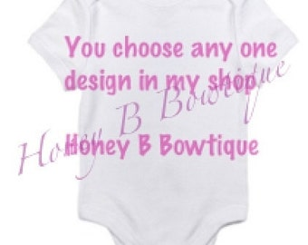 Customized Character Onesie or Child's Shirt, any design in my shop, Create Your Own