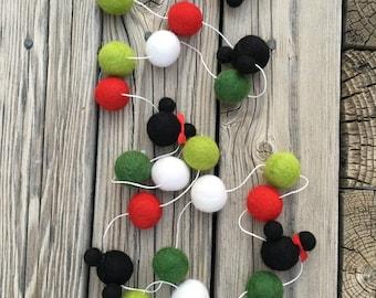 Christmas,Disney, Mickey Minnie Mouse, Birthday Felt Ball Garland, Pom Pom Garland, Nursery Decor, Bunting Banner, Party Decor, Baby Shower