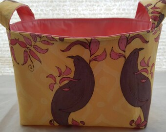 Storage Organizer Basket Container Fabric Bin - Brown Birds