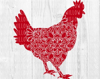 Rooster Floral Mandala SVG, Chicken Mandala, Rooster DXF, Digital Download, Rooster, Chicken svg, Hen, Cricut, Silhouette, Roosterl Decal