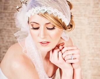 Polka Dot Tulle Lace Head Wrap Veil with Flower Hair Clip