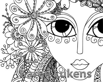 5 pages, Girls Pack #1 , 5 Adult Coloring Book Pages, Printable Instant Download