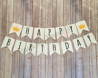 Where The Wild Things Are Birthday Banner, Wild One Birthday Banner, A Wild One Birthday