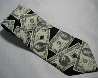 Money rhinestone necktie