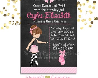 Ballerina Chalkboard Invitation, Birthday Invitation, Baby Shower Invitation, Birthday Invite, Ballet Recital Invite, Pink Ballerina, Ballet