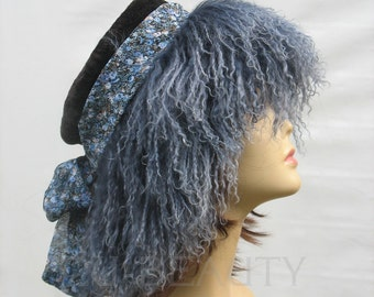 Women's Hat Festival Hat beanie winter real fur headcover purple cosy artisan hat handmade boho festival winter accessory womens