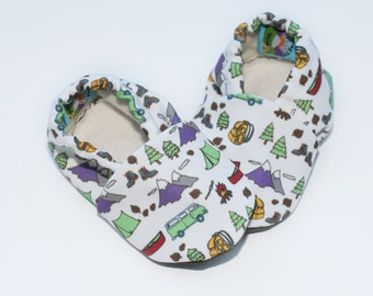 Baby Shoes. Happy Camper Baby Booties. Eco Canvas with Organic Fleece Linings. Camping Theme Baby Shoes. Camp Baby Slippers