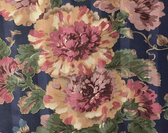 Navy Jacquard w Jewel Tone Floral Print - Wine Red Blue and Green Floral Bouquet with Vines - Designer Print Fabric - Floral Fabric Yardage