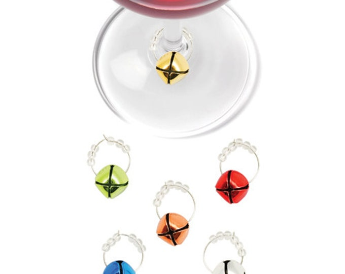 Christmas Jingle Bell Wine Charms Pack Of 6