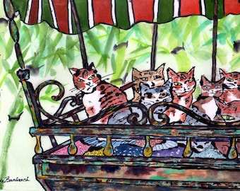 Cat Art Print Community Cats