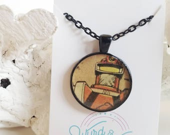 READY TO SHIP Comic Book Robot Necklace - Comic Jewelry - Geek Jewelry