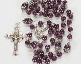 Purple Lepidolite Catholic Women's Rosary - Lilac Grey Beads with Madonna Center & Sunburst Center - 5 Decade, Handmade Heirloom Rosaries