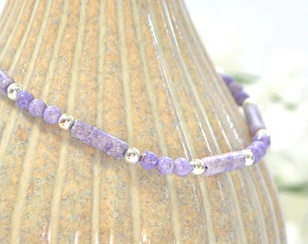 Lavender Anklet 9.25 inch Ankle Bracelet Minimalist Anklet Beaded Small Ankle Bracelet Adjustable Handmade Jewelry Purple Anklet