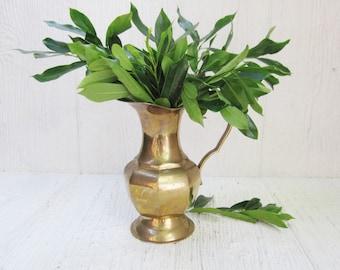 Vintage Brass Pitcher Vase, Rustic Farmhouse Decor, Midcentury Modern, Rustic Boho Wedding Vase