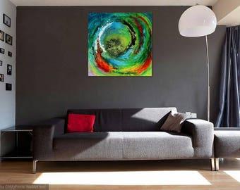 Maelstrom, Modern artwork, abstract painting, acrylic on plexiglass 24x24