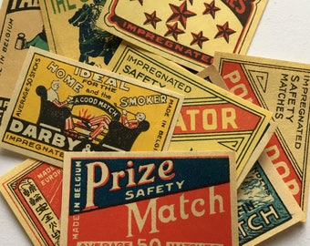 12 pcs. 1950's Matchbox Labels -images . Vintage Matchbox Labels from Europe - rare pieces