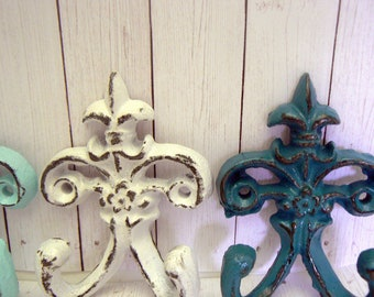 "Fleur de lis Cast Iron White Cream Blue 3 1/2"" Mini Petite FDL Set 4 Small Dbl Wall Hooks French Paris Shabby Cottage Chic Nursery Bathroom"