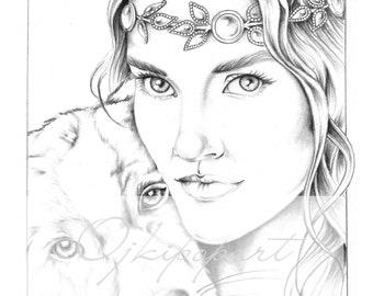 Slavic Beauty 1. Printable coloring page.
