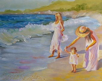 FIRST WALK Print of Original Oil Painting, mother and baby on beach