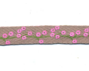 Ribbon Twill fancy Beige with flowers by the yard