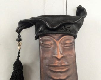 The Fool or Jester Eyeglass  Crossbody Leather  Pursona  Slide Bag  in Antique Black