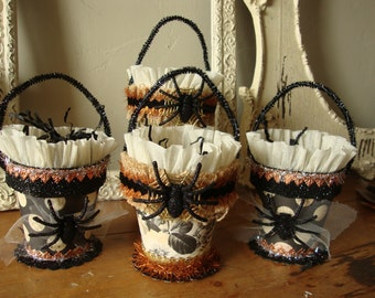 Altered Halloween gift basket spider candy container halloween party favors treat packaging embellished gift wrap elegant halloween