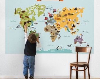 World Map - Peel and Stick Poster Sticker