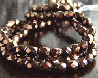 Bronze Czech Glass Bead 3mm Faceted Round : 50 pc Strand
