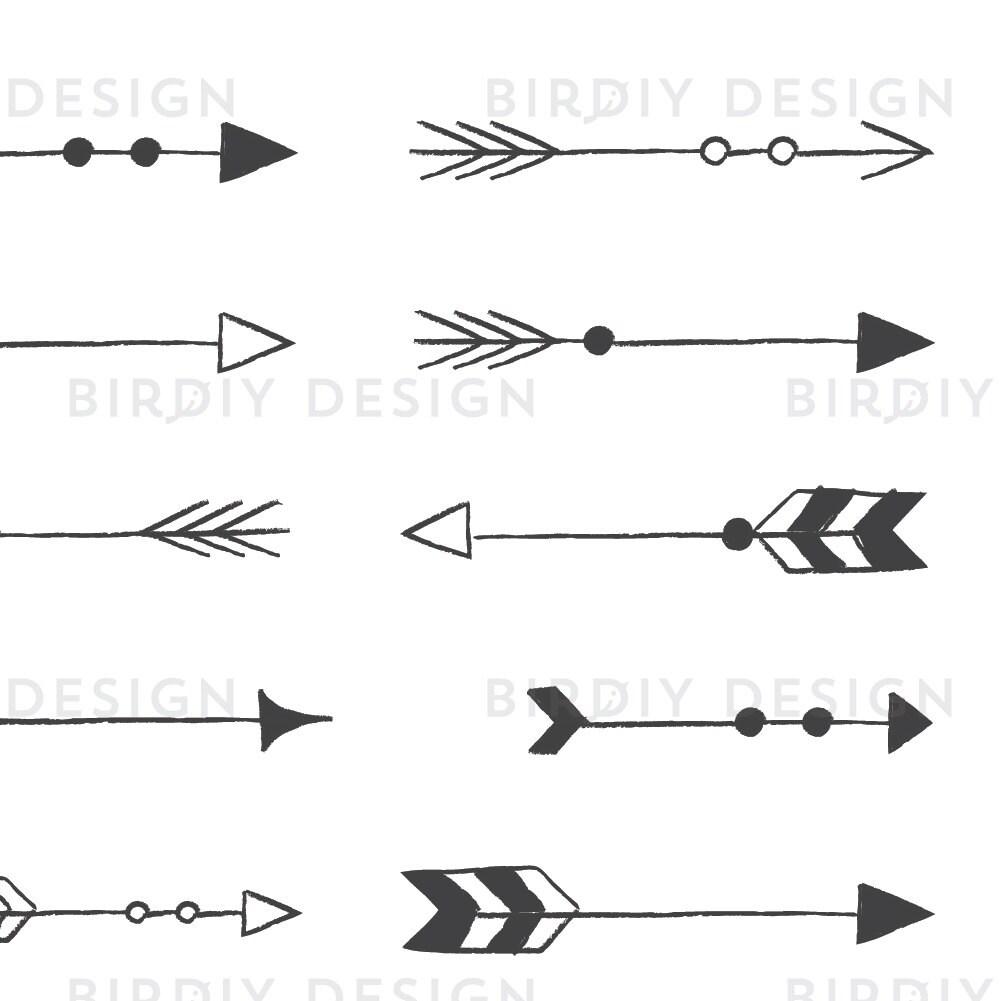 Rustic Arrow Clipart - Tribal Arrow Clipart - Rustic ...