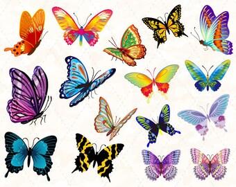 Digital Butterfly Clip Art Colorful Butterfly Clipart Pink Butterfly Blue Butterfly Purple Butterfly Orange Butterfly Pink Butterfly 0120