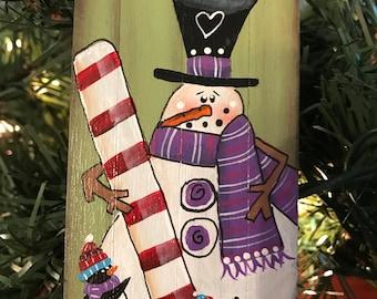 Candy Cane Snowman Ornament, Ornament, Candy Cane, Snowman, Christmas Tree, Penguin, Teacher Gifts, Laurie Speltz, Snowman Ornament