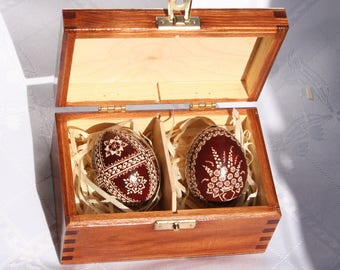 Easter eggs, wooden box, pysanky, unique gift, Polish pysanky, box with Easter eggs