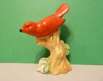 Cardinal on a Branch Figurine, from Occupied Japan