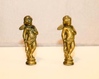 Vintage Cast Metal Cherub Angels,  Set of 2, Metal Figurines, Cast Metal Figurtine Picks