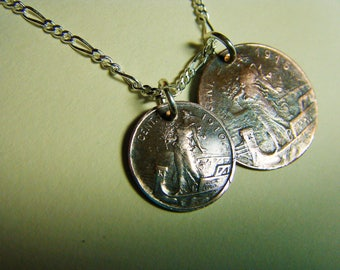 Vintage Italian Copper Double Coin Charm Pendant Necklace